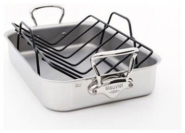 Stunning Mauviel M u Cook Ply Stainless Roaster Roasting Pan with Rack Traditional