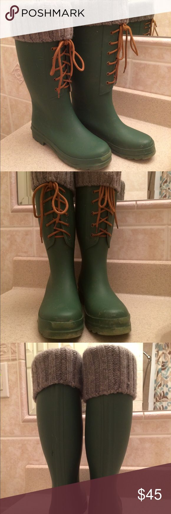 J.Crew Rain Boots Olive Colored J Crew Lace Front Waterproof  Rain Boots. Sock Lined at the Top of the Boots (not detachable) Overall good condition J Crew Shoes Winter & Rain Boots