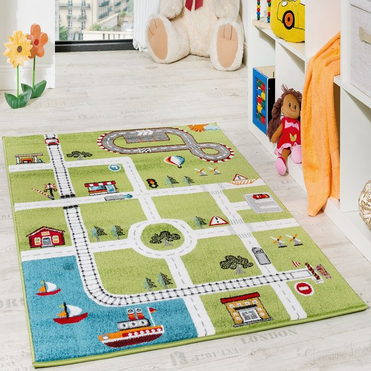 Children's Rug Play Mat City Harbour Street Rug Town Street Grey Green Children's rugs