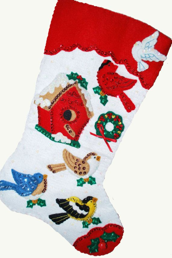 Finished Handcrafted Bucilla Felt Christmas Stocking By