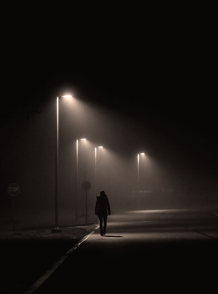 Solitude Midnight Walk in Dark, photograph by Shavkat Hoshimov.  (I've tried to substantiate the attribute for this photo, but all the links lead back to Pinterest. I don't know how reliable it is.)