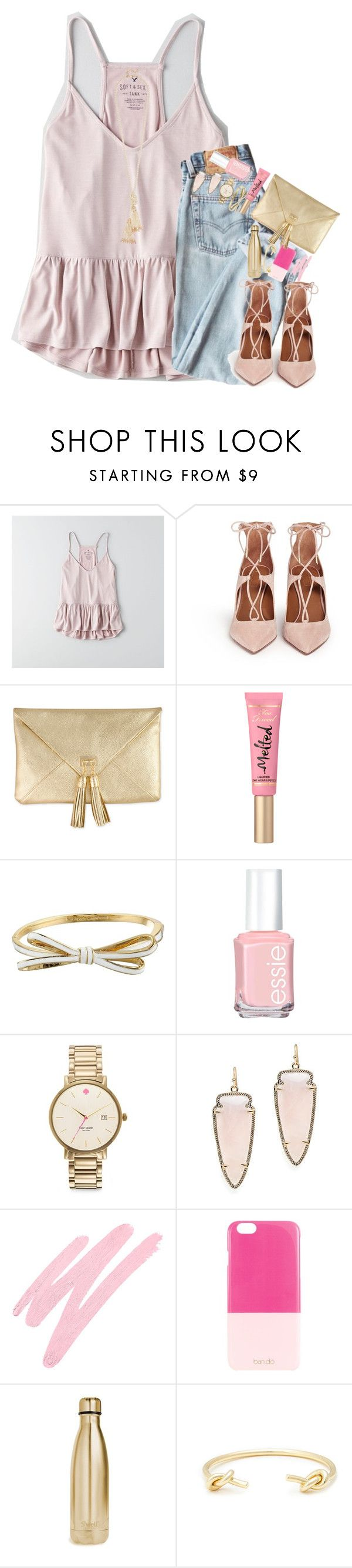 """when u low don't wanna hang"" by kate-elizabethh ❤ liked on Polyvore featuring American Eagle Outfitters, Aquazzura, Kate Spade, Essie, Kendra Scott, NARS Cosmetics, ban.do, S'well, Sole Society and Kenneth Jay Lane"