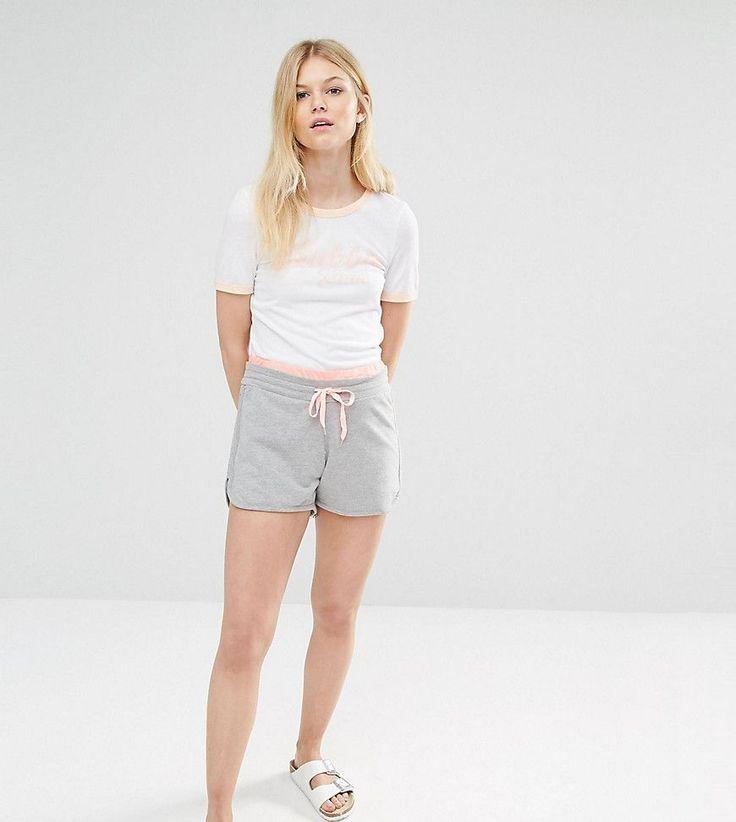 Noisy May Kicks Back Petite Contrast Tie Jersey Short - Gray