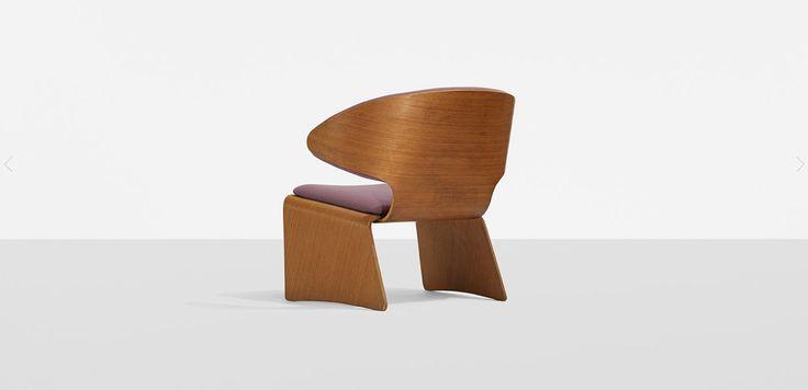 HANS OLSEN lounge chair  Frem Rojle Denmark , 1961 teak plywood, upholstery 29.5 w x 26 d x 27.75 h inches