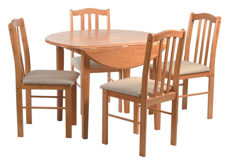 """Stockholm  Natural Beech finish 40"""" round table with drop leaf both sides and 4 cushion seat chairs.  Table Dimensions: 1015mm Diameter x H750mm Chair Dimensions: W415mm x D470mm x H903mm"""