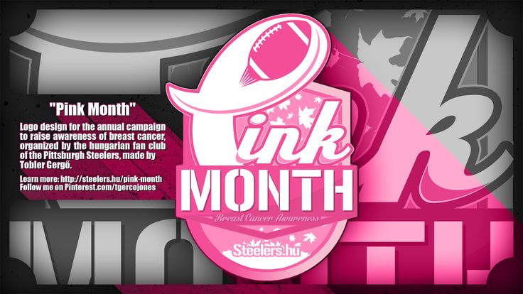 Logo design for the annual campaign to raise awareness of breast cancer, organized by the hungarian fan club of the Pittsburgh Steelers, made by Tobler Gergő aka #tgersdiy Learn more: http://steelers.hu/pink-month Follow me on Pinterest.com/tgercojones