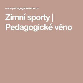 Zimní sporty | Pedagogické věno