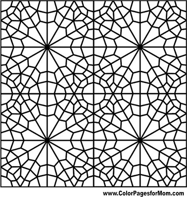 Geometric Coloring, free printable pages for adults, stained glass style