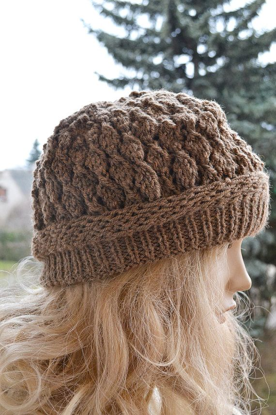 Knitted brown cap / hat lovely warm autumn by DosiakStyle on Etsy