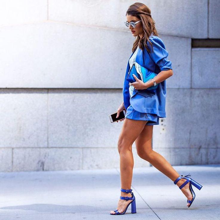 "Camila Coelho on Instagram: ""Shades of Blue! : @lefrenchystyle -------- (Look: @carolbassibrand | Sandals: @tommyhilfiger | Bag: @elenaghisellini ) #nyfw #fhitsny @fhits"""