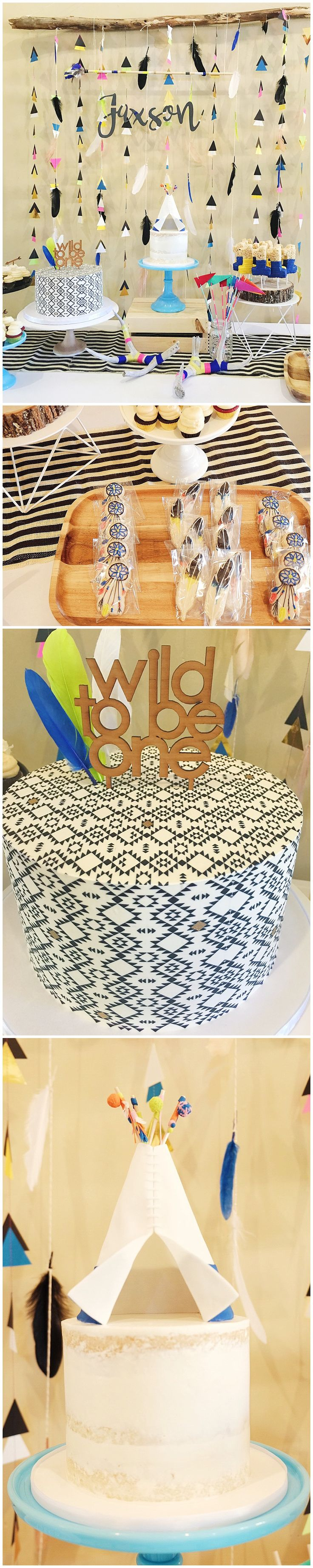 Events – Wild Childdessert table, wild one, bow and arrow, boho, sweet and saucy , teepee, navaho , feather cookies , yarn bomb , antlers , first birthday, smash cake, dream catcher