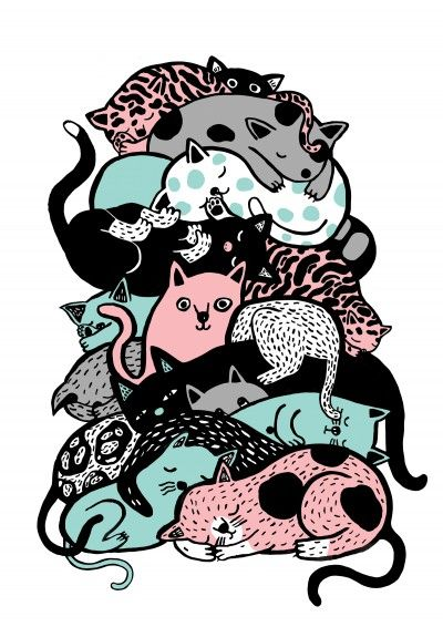 Cats poster by Cajsa Wessberg