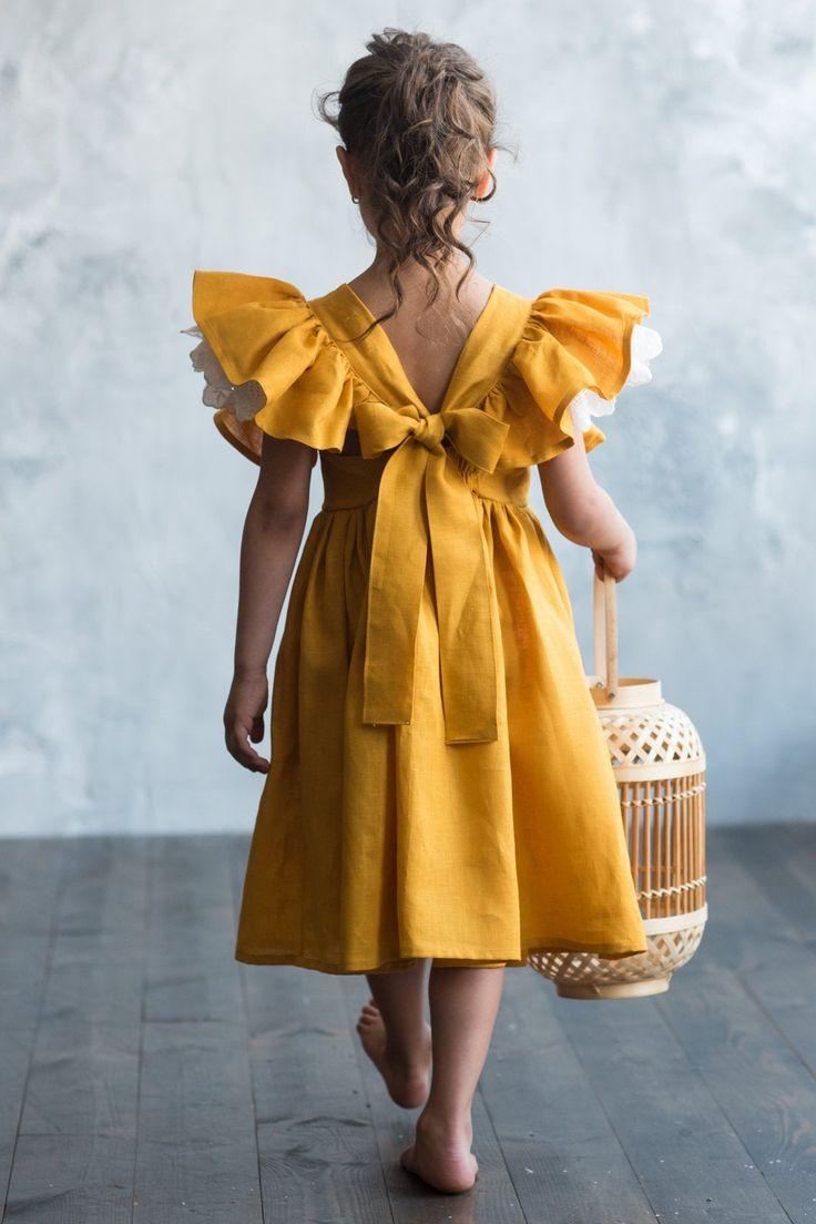 Mustard linen dress for girl with flutter sleeve, girls linen pinafore dress, toddler linen dress