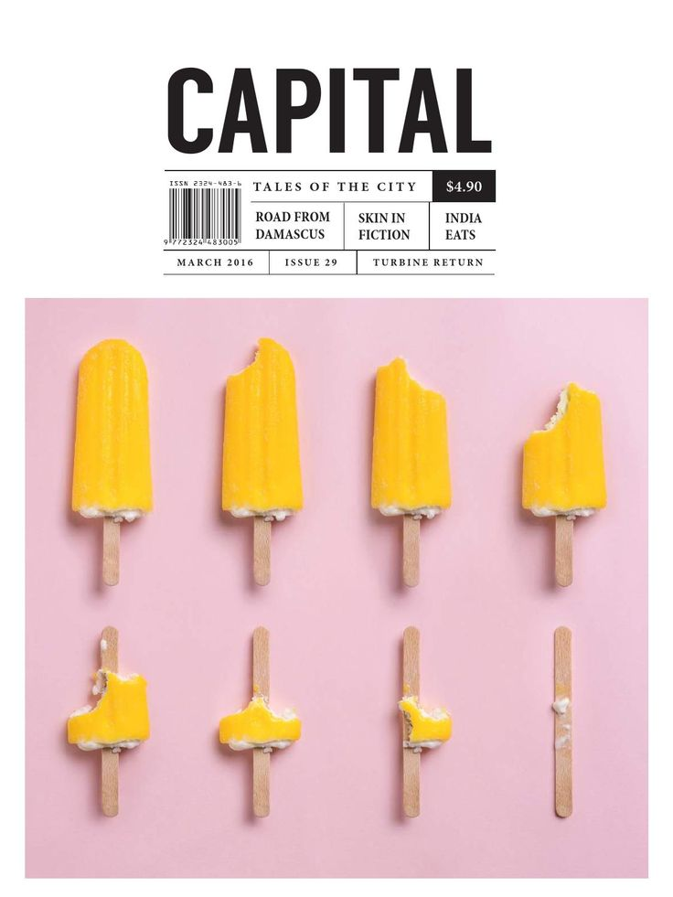 Capital 29 I like the idea of showing the progression of something being eaten. I also really like popsicles.