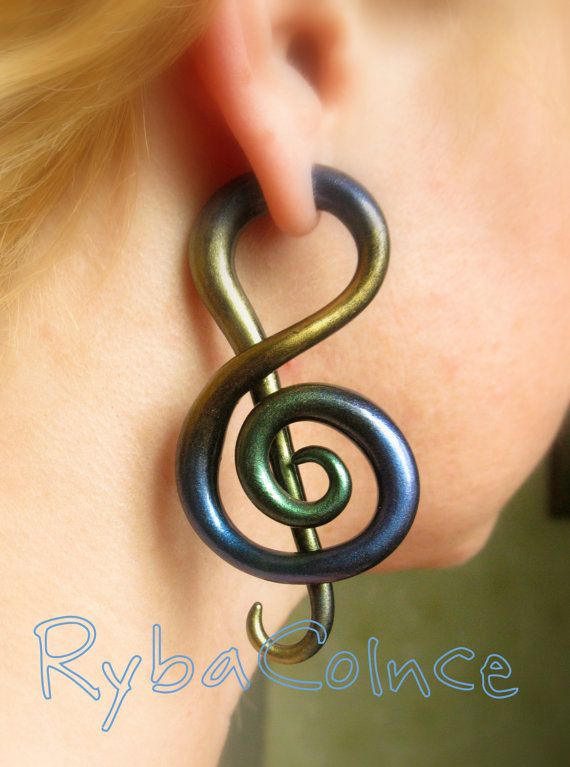 Fake ear tentacle gauge - Faux gauge/ Gauge earrings/ Tentacle plug// spiral gauge/ fake piercing the treble clef