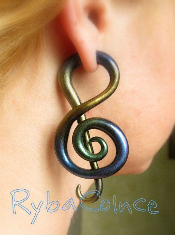 Fake ear tentacle gauge - Faux gauge/ Gauge earrings/ Tentacle plug// spiral gauge/ fake piercing the treble clef