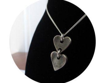 Sierlijke vingerafdruk-ketting zilveren door RubysLittleKeepsakes