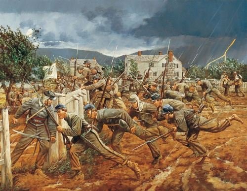 "The Lions of the Hour: VMI cadets at the Battle of New Market-May 15, 1864.  Keith Rocco.  Suffering the combined effect of the Union muskets and artillery's canister rounds, the center of the rebel line, companies from 51st, 30th and 62nd Virginia regiments evaporated. Confederate General Breckinridge made a choice. With the VMI cadets as his only available reserve, he hesitated. ""Put the boys in,"" he commanded at last, ""And may God forgive me for the order."""