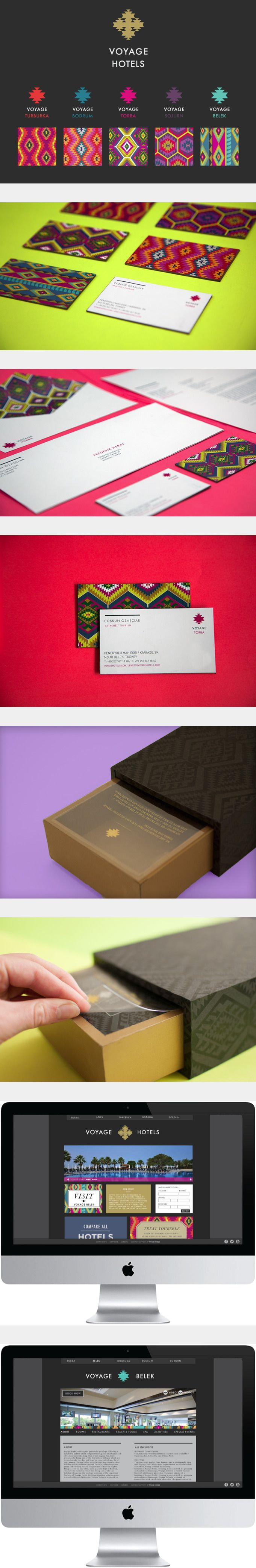 Voyage Hotels by Lacy Kuhn. Love the use of pattern on the business cards