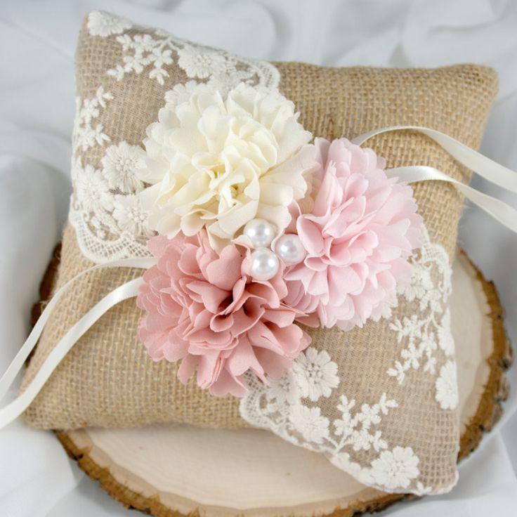 Burlap Ring Bearer Pillow - The Classic Pink Shade