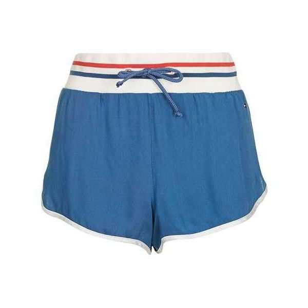 Loungewear Shorts by Tommy Hilfiger (€41) ❤ liked on Polyvore featuring sports shorts, sport shorts, rayon shorts and topshop shorts