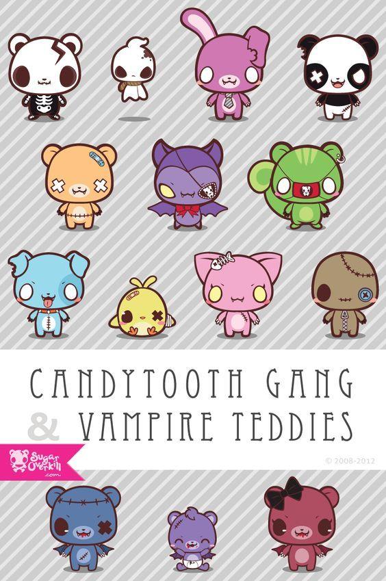 SugarOverkill Original Characters cute kawaii creepy dark rabbit panda chibi ghost vampire teddy chick dog bat bear - omg perfect: