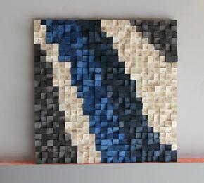 36 x 36 inch grote houten muur Art, geregenereerde Woodburning hout wall Art, mozaïek van hout, houten muur art, houten sculptuur Abstract houten kunst aan de muur  Kunst aan de muur hout, op maat gemaakte 3D driehoeken hout kunst aan de muur Modern muur abstracte sculptuur van de muur, handgeschilderde, knippen, geverfd en geschuurd.  De afbeelding is uniek en nooit een identieke kopie zal hebben.  MADE TO ORDER  Breedte: 36 inch Hoogte: 36 inch Dikte: 2-4 inch Gewicht: ongeveer 15 kg…