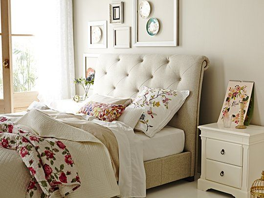 Memphis Scrolled Oatmeal Queen Bed Frame main product image 2 1199