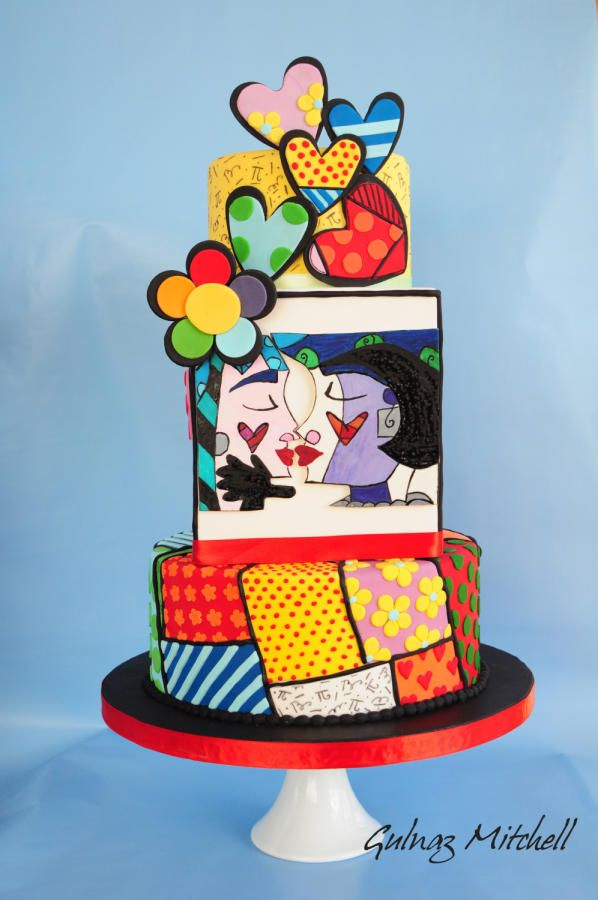 """Sweetheart""cake+inspired+by+Romero+Britto+-+Cake+by+Gulnaz+Mitchell"
