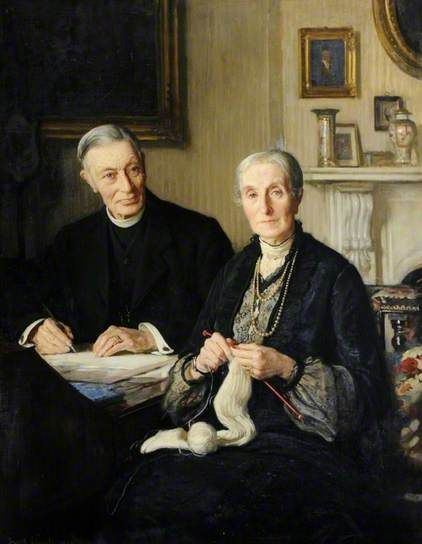 'Canon Fisher and His Wife' (1877-1905) by English artrist  Frederick William Elwell (1870-1958).