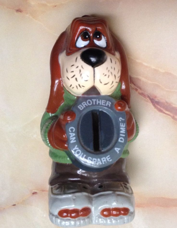 Vintage JSNY Dog Bank Brother Can You Spare A Dime Humorous Coin Bank Money Begging Hound Dog Bank Coin Slot Saving Bank Figurine by KarmaKollectibles on Etsy https://www.etsy.com/listing/288371161/vintage-jsny-dog-bank-brother-can-you
