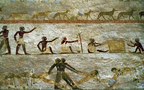 Ancient egyptians washing linen