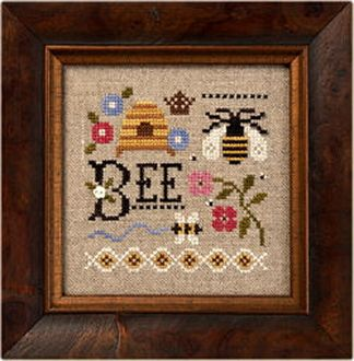 Lizzie Kate - A Little Bee counted cross stitch pattern fabric button