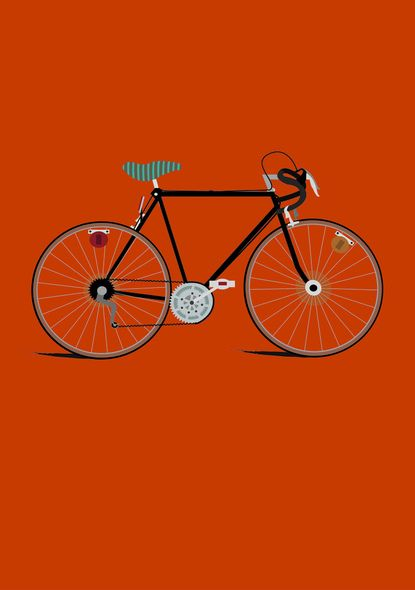 Collection of multiple bike illustrations on different colored backgrounds?