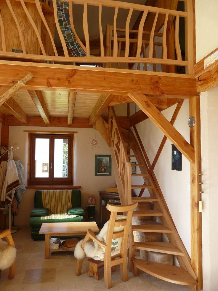 Maison bois paille d 39 anne marie maison paille pinterest maison bois marie et bois - Interieur maison ...