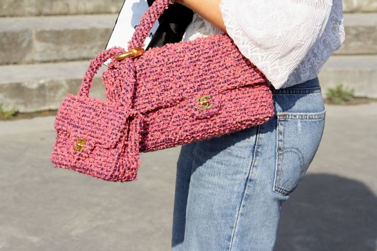 Tweet pink Chanel. Paris Fashion Week Streetstyle, by Lois Spencer-Tracey of Bunnipunch