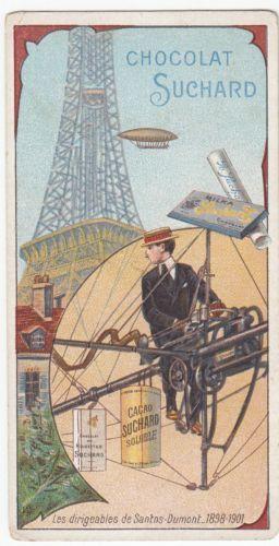 Antique-Suchard-Chocolate-Lithography-Trade-Card-Balloon-Santos-Dumont-1898