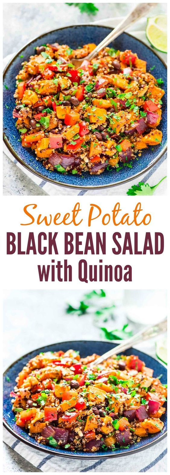 Roasted Sweet Potato Quinoa Black Bean Salad. Healthy, filling, and DELICIOUS! Perfect make-ahead recipe for healthy lunches, or for a side dish at parties and potlucks. {vegan, gluten free, dairy free} @wellplated