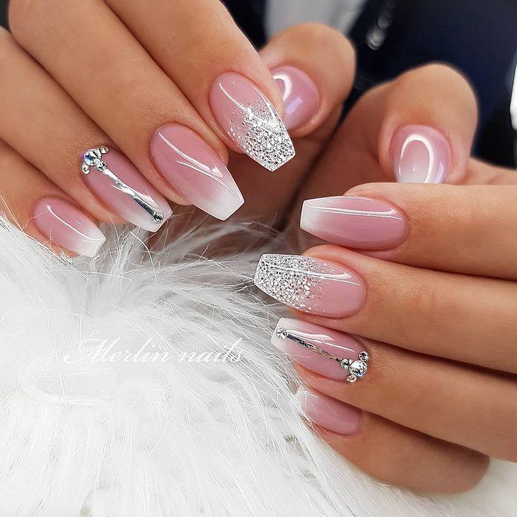Light Pink Glitter Nails