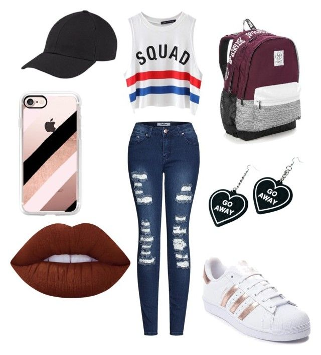 """Campus"" by sophievanderkooy on Polyvore featuring 2LUV, Chicnova Fashion, adidas, Victoria's Secret, Casetify, Witch Worldwide and Lime Crime"