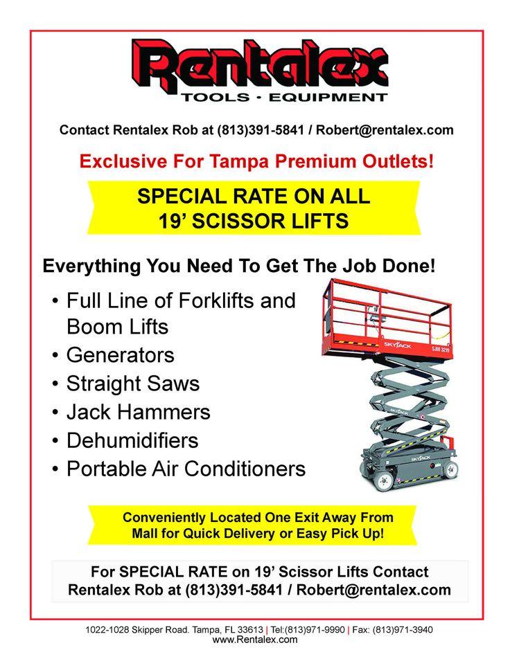 Scissor Lift Rentals Rentalex Tampa Specials Portable