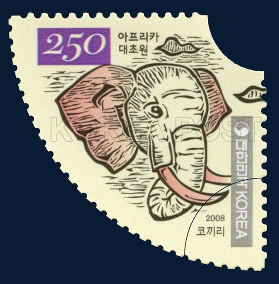 African Savanna Special Stamp, Elephant, Animals, Red, Ivory, Seagrass, black…: