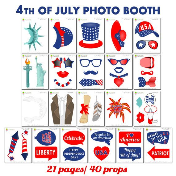4th Of July Photo Booth Props–41 Pcs (31 Props,9 Speech Bubbles,1 Photo Booth Sign)-Printable Independence Day Props-American Photo Booth