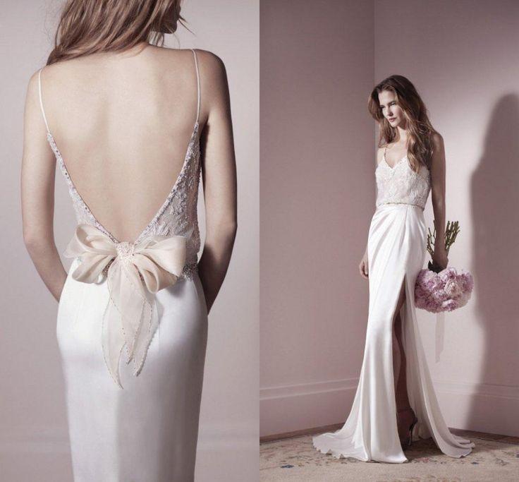 2016 Sexy Backless Sheath Wedding Dresses Spaghetti Straps Floor Length Lace Appliqued Bow Satin Slinky Slim Beach Bridal Gowns