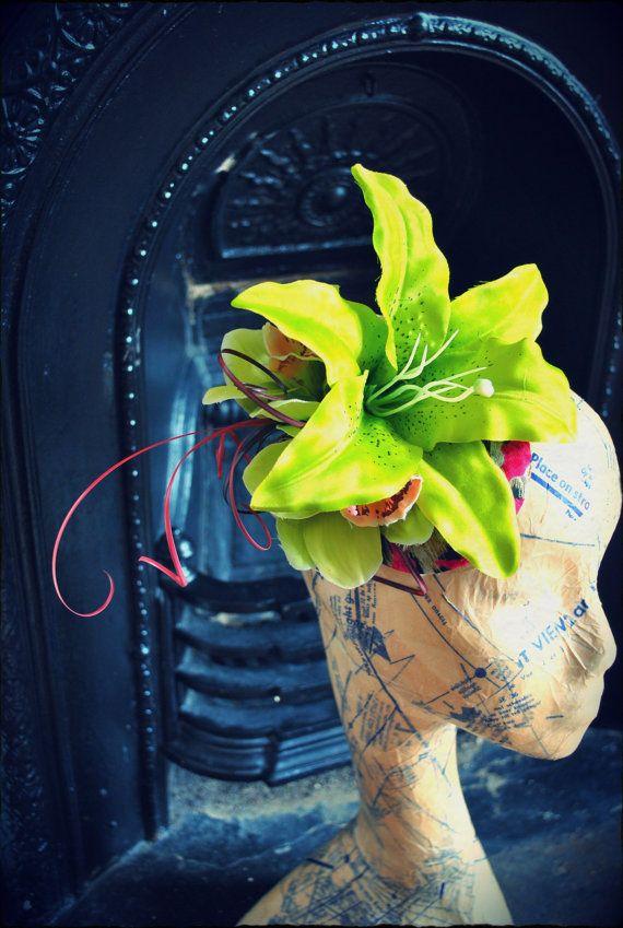 Lime Pink Lily Rockabilly Vintage Floral Fascinator Headpiece on Etsy, $122.50 CAD