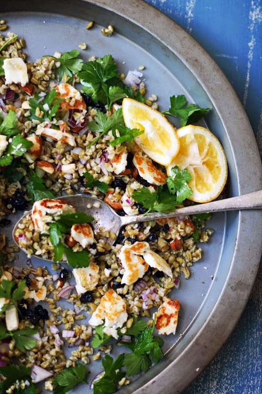 Freekah Salad with Halloumi, Toasted Almonds, Lemon and Parsley and Blueberries. This is a cool take on a fresh and tasty salad!