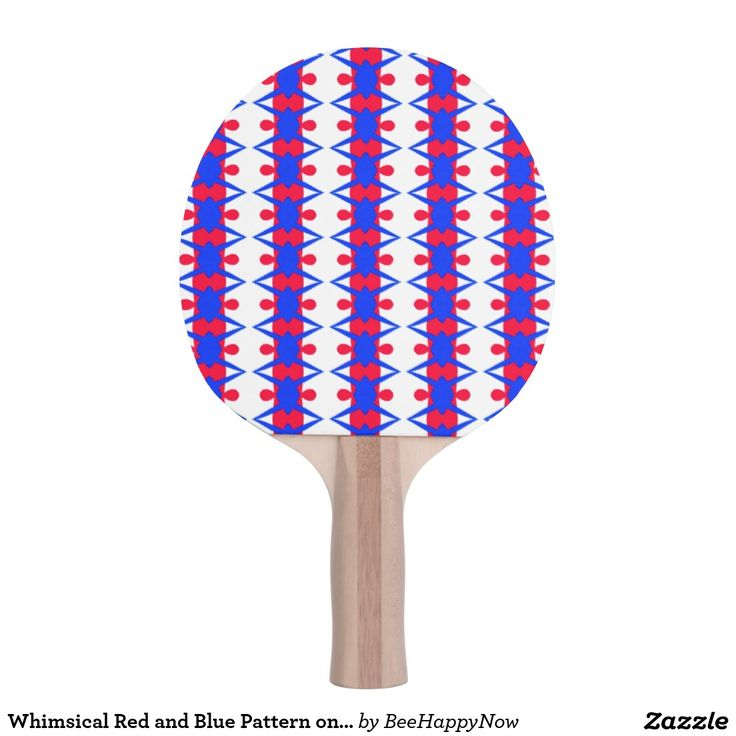 Whimsical Red and Blue Pattern on Ping Pong Paddle