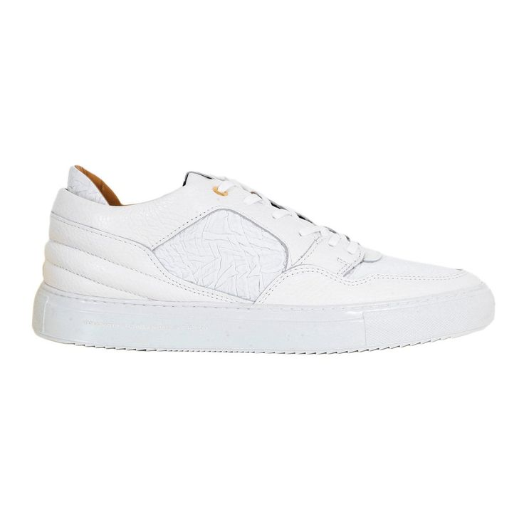 Android Homme White Sneakers for Men with Gold Branded Eyelets