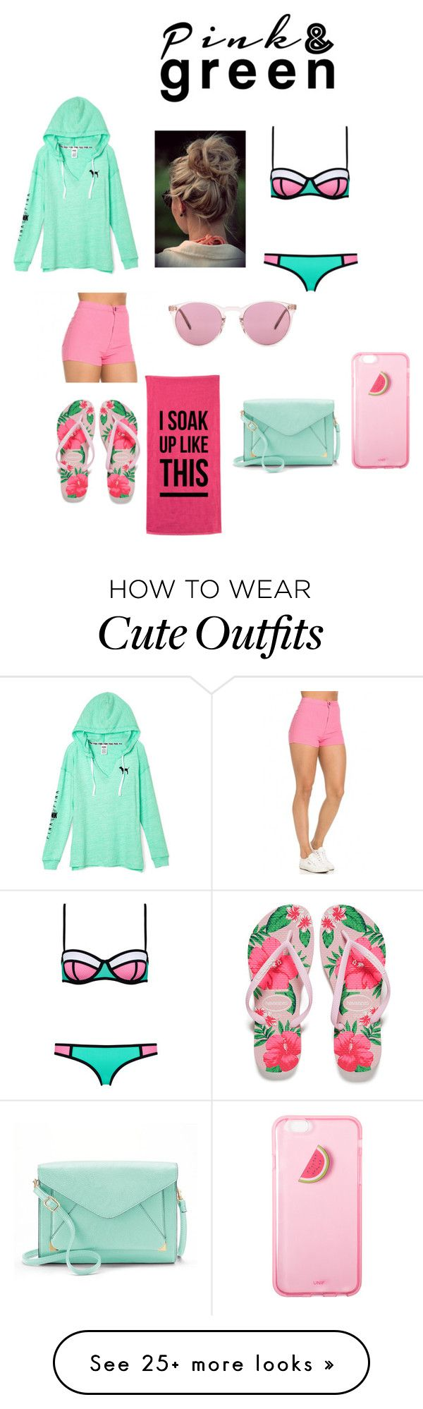 """Pink and Green outfit #2016"" by fashionloveforlife02 on Polyvore featuring Oliver Peoples, Havaianas and Apt. 9"