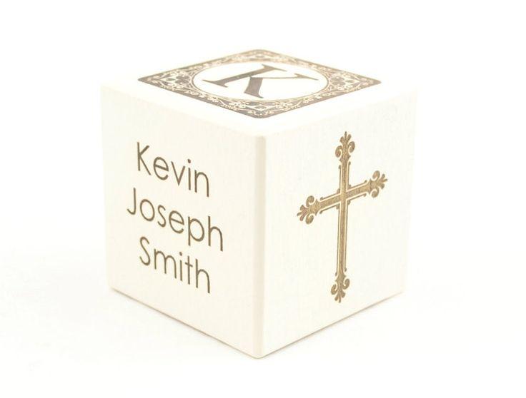 Personalised Baptism Present White Picket Block Nursery Ornament Spiritual - http://babyfur.net/personalized-baptism-gift-white-wooden-block-nursery-decoration-religious/